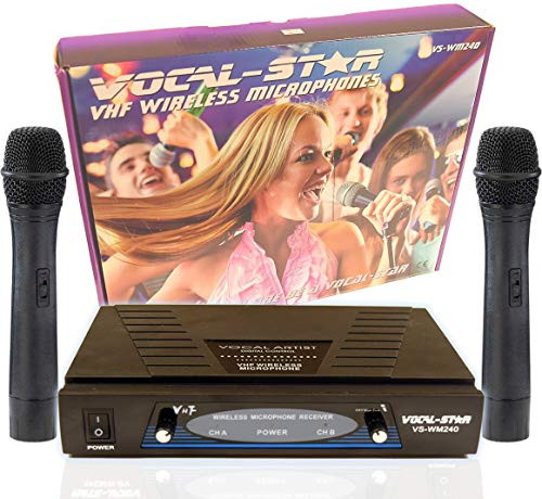 VocalStar WM-240 2 VHF Wireless Microphones Set System With EU Adapter