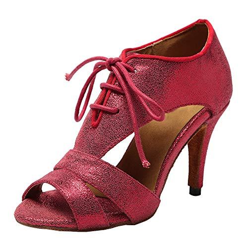 AOQUNFS Zapatos de Baile de Salon Latino Mujer Salsa y Bachata,Modelo YCL218-7.5-Rosso,EU 39