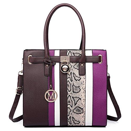Miss Lulu Women Handbag Faux Leather Snake Skin Contrasting Stripe Cross Body Shoulder Satchel Tote Bag with Padlock