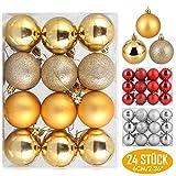 Zogin Adornos de Adornos navideños Bolas de árboles de Navidad Decoraciones para Navidad Decoración y Fiestas (Oro, 24piezas-6cm)