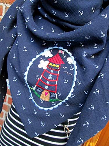 UNIKAT Leuchtturm Anker XXL Tuch Halstuch aus weichem Musselin marine dunkelblau mit Ankern für Damen