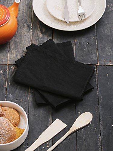 100% Cotton Napkins Black - 12 Pack (18 inches x18 inches) Perfect use for Events and Regular Home Usage. Perfect Choice of Napkins.