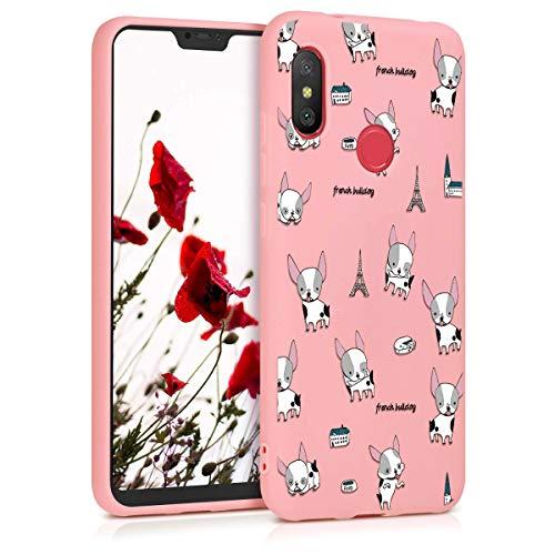 ZhuoFan Funda Xiaomi Mi A2 Lite, Cárcasa Silicona Rosa con Dibujos Diseño Suave TPU Antigolpes de Protector Piel Case Cover Bumper Fundas para Movil Xiaomi Mi A2Lite / Redmi 6 Pro, Buldog