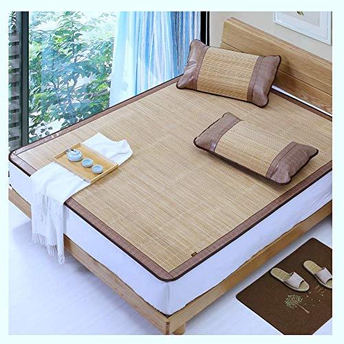 Cooling Topper Colchón Colchón Ropa de cama de enfriamiento Colchón de aire acondicionado Doble cara de bambú mate de ratán plegable con fundas de almohada de ratán 2 estilos 5 tamaños (Color: B, Tama