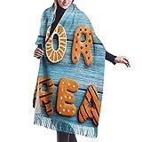 Donna Sciarpa Scialle Inverno Coperta Invernale Sciarpa Fresco dolcetto o scherzetto biscotti di panpepato sul tavolo in legno blu Spider Web Ghost Cashmere imitazione Morbida Sciarpa Calda