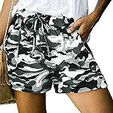 Women Comfy Drawstring Casual Elastic Waist Camouflage Print Shorts Summer Beach Lightweight Short Pants with Pockets
