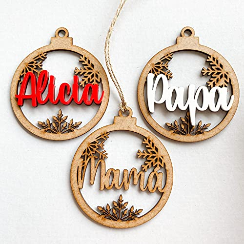 Little_Dreams_ Bolas de navidad personalizadas, de madera y metacrilato, Rojo o Blanco, Cordel incluido, Originales, Para árbol de navidad