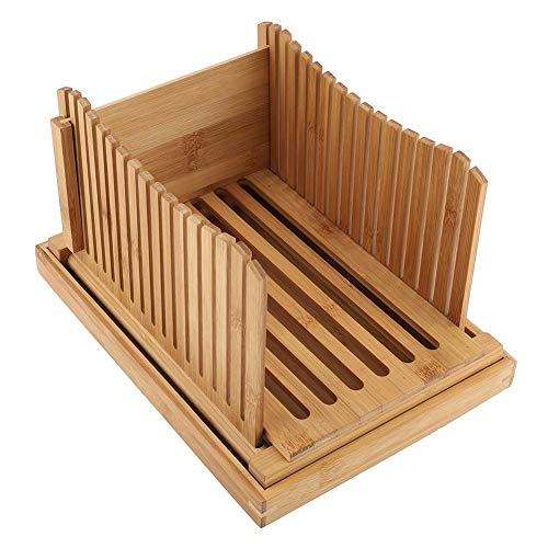 DEWIN Bread Slicer,Faltbarer Bambus Bread Bin Slicer Guide mit Krümelauffangschale Küchenbrotzubehör(31.7 * 23.7 * 19cm)