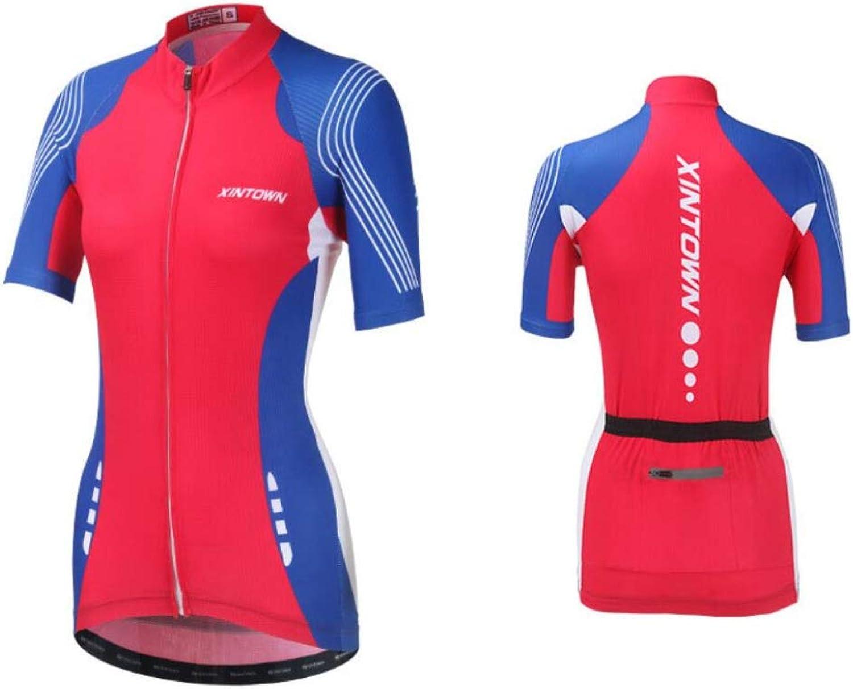 DUBAOBAO Damen-Jersey-Anzug, Damen-Kurzarm-Fahrradanzug 3D dreidimensionales Kissen Design atmungsaktiv UV-Schutz, 3 Farben optional
