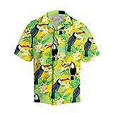 JJBKT 3D impresión loro tropical hawaiano camisa verano playa manga corta camisa de los hombres harajuku casual fresco camisa, Negro, XXL