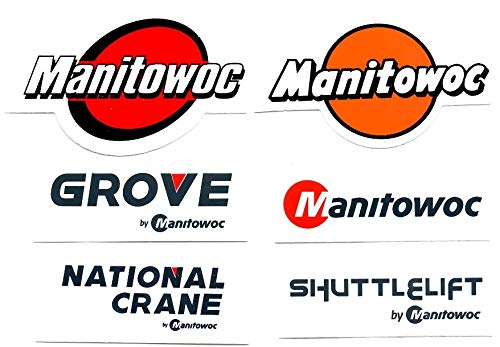 Manitowoc, National Crane, Grove, Shuttlelift 6 Sticker Bundle. Hardhat/Decals. Great for the Roughneck, Oil Worker, Construction Worker. Looks great on a Helmet, Lunchbox, or Toolbox.