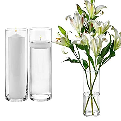 Set of 3 Glass Cylinder Vases 12 Inch Tall - Multi-use: Pillar Candle, Floating Candles Holders or Flower Vase – Perfect as a Wedding Centerpieces