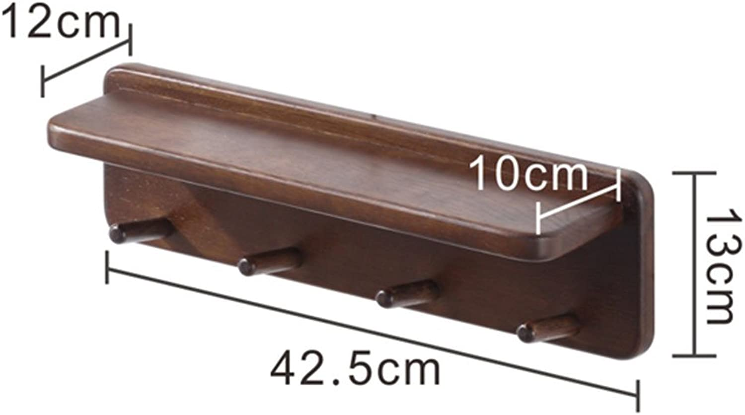 LIANGJUN Wall Coat Rack Clothes Hat Hanger Holder Hooks Simple Solid Wood, 2 colors, 2 Sizes Available Jacket Scarf Porch (color   Brown, Size   42.5x13x12CM)