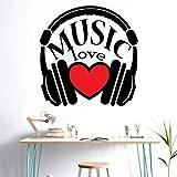 StickMe 'Music Love Headphone Wall Sticker' -SM300 (Multi Colour, Vinyl - 70cm X 70 cm )