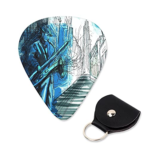 EILANNA Guitar Picks Saxophone player hand drawn an musician playing saxophone on the night street Trendy Guitar Plectrums for Your Electric,Acoustic,Ukulele,or Bass Guitar,Guitar Pick Grip 6pcs
