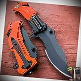 Orange Emt Led Light Blade Pocket Stainless Steel Blade Folding Knife + Free eBook by Survival Steel