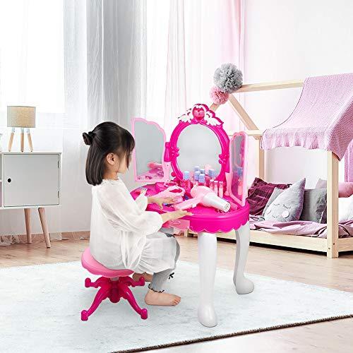 Cocoarm Tocador para niños con iluminación, taburete y juego de tocador con luz y secador de sonido, adecuado para niños, y muchos accesorios, 2-5 años de edad
