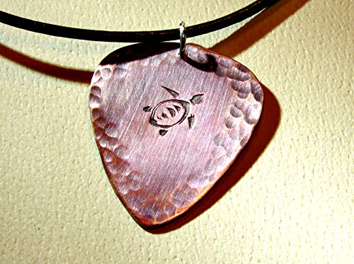 Sea Turtle Copper Guitar Pick Necklace with Artistic Iridescent Purple Blue Patina and Hammered Texture