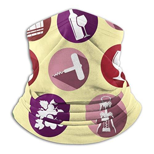AEMAPE Polaina de cuello de vino de dibujos animados Calentador de cuello Pañuelo Bandana Diadema sin costuras para hombres Mujeres Sol Uv Viento Protección contra el polvo Esquí Montar Correr