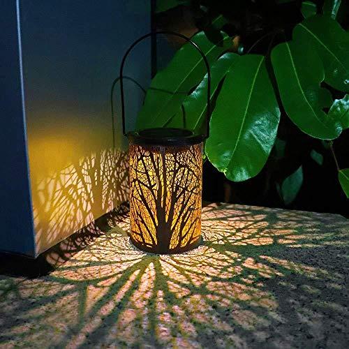 Retro Garten Solarlampe Ausgehöhlt Baumstamm Schatten Laterne Hängende Hohllampe Beleuchtung Outdoor Wasserdichte Landschaftslampe Bronze