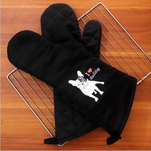 HGFHFHIO Geïsoleerde handschoenen, twee pakketten, schattige hoge temperatuurbestendigheid, anti-schaal, dikkend, hittebestendig, dedicated voor de oven in de keuken