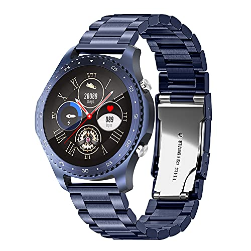 Reloj Inteligente Bluetooth para Hombres, rastreador de Actividad física, Correa de Acero IP67, Reloj Inteligente a Prueba de Agua con Monitor de frecuencia cardíaca y sueño, para Android iOS (Blue)