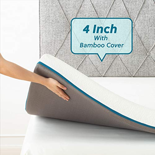 Bedsure 4 Inch Memory Foam Mattress Topper Queen S-Curve Ergonomic High Density Bed Topper for Pressure Relieving with Breathable Removable Bamboo Cover