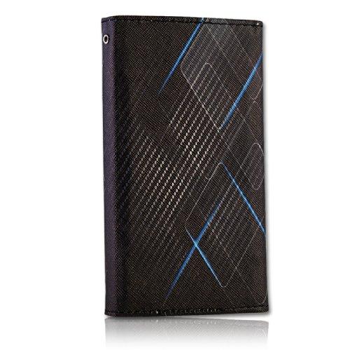 Handy Tasche Fliptasche Flip Book Etui Hülle Case Kunstleder schwarz / blau - Carbon Design book7-5 für Nokia Lumia 900 / Huawei Ascend D quad / Huawei Ascend D quad XL / Sony Xperia Ion / Huawei U9200 Ascend P1 / Samsung Galaxy S2 i9210 LTE / Samsung Galaxy Nexus / Base Lutea 2 - 5