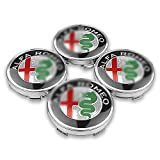 4x Capuchon Central De Moyeu de Roue de Voiture, pour Alfa Romeo Giulietta Spider GT Giulia Mito, Logo de Capuchons de Centre de Roue, DéCoration de Couvercle D'éCrou, Accessoires de Style de Voiture