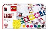 Marabu 0308000000001 - Kids T-Shirt Farbe, 6 x 80 ml, Stoffmalfarbe für Kinder, für kreative Designs auf hellen Textilien, nach Fixierung waschbeständig bis 60 °C, ideal für Kinder
