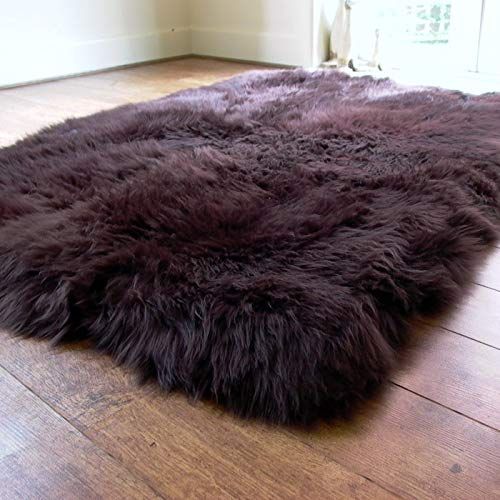 Genuine Large Rectangular Lined Sheepskin Rug - Thick and Soft Wool - by Rughouse...