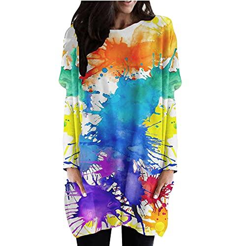 Briskorry Batik T-Shirt Kleid für Frauen Longpullover Rundhalsausschnitt Langarm Halloween Sweatshirt Kleider Tunika Flowy Kleider Swing...