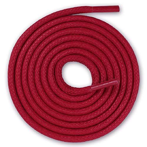 Lacenio Cordones redondos encerados para zapatos de traje, de cuero, muy resistentes, 3 mm de ancho, color rojo, longitud 100 cm
