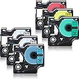 NineLeaf , Pack de 6 cintas etiquetado Combo Set para Dymo D1 LabelManager 160 impresora 45010 45013 45016 45017 45018 45019 negro impresiones