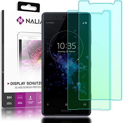NALIA (2-pack) beschermend glas compatibel met Sony Xperia XZ2 Compact, 9H Full Cover Screen Protector Glas-folie, dunne mobiele telefoon beschermer beeldscherm afdekking HD Protector Film - Crystal Clear Transparent