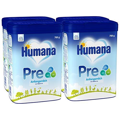 Humana Anfangsmilch PRE, Babynahrung zum Zufüttern und als alleinige Pre-Nahrung, mit wichtigen Ballaststoffen, von Geburt an, 4er Pack (4 x 700g)