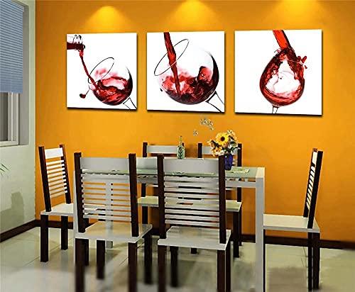 45Tdfc Copa de Vino Tinto Impresiones Cartel Lienzo De Pintura 3 Paneles Moderno Negro Arte De La Pared para El Dormitorio Decoración para El Hogar con Marco 40×60cm-3