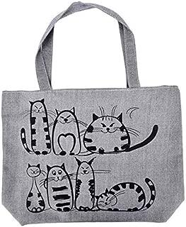 Gimax Shoulder Bags - Cartoon Cat Printed Shoulder Bag Women Canvas Handbag Women Canvas Tote Shopping Handbags Female Large Capacity Ladies Beach Bag - (Color: Gray)