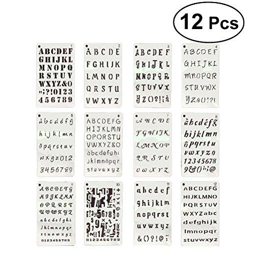 yeahibaby Sets de plantillas de plástico, letras y números Plantillas Drawing Painting Stencils–Marcos para álbum de recortes, journaling, Graffiti y artesanía, 12unidades)