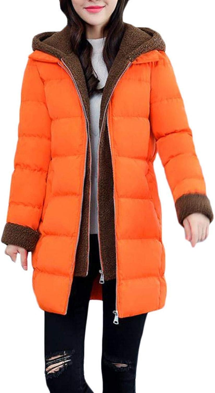 Joe Wenko Women's Hooded Thick Quilted Winter Fleece Down Parka Coat Jacket