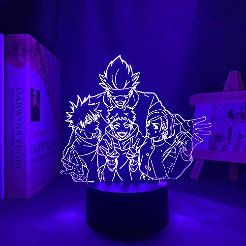Lámpara de noche 3D anime ilusión lámpara de anime Satoru Gojo Team Light Jujutsu Kaisen LED Belleza para regalo de cumpleaños Jujutsu Kaisen Grupo Satoru Gojo Lámpara