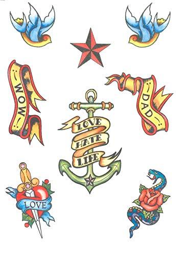 shoperama 8 temporäre Transfer Tattoos Matrose Seemann Rockabilly Einmal Tattoo abwaschbar
