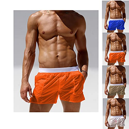 Apgize Men's Sheer See Through Boxers Drawstring Swim Trunks, Mens See-Through Quick Dry Beach Shorts Swim Trunks with Pocket (Orange,M)