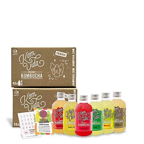 Té kombucha. Komvida. Kit Challenge. 24 botellas de kombucha orgánica. 250 ml. Envío en frío.