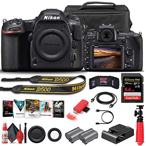 Nikon D500 DSLR Camera (Body Only) (1559) + 64GB Memory Card + Case + Corel Photo Software + EN-EL 15 Battery + Card Reader + HDMI Cable + Deluxe Cleaning Set + Flex Tripod + Memory Wallet (Renewed)
