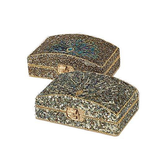 CasaJame Casa Arredamento Organizzazione Accessori Contenitori Set di 2 Scatole Decorative Portagioie Metallo Perle Vetro 16x10x6cm