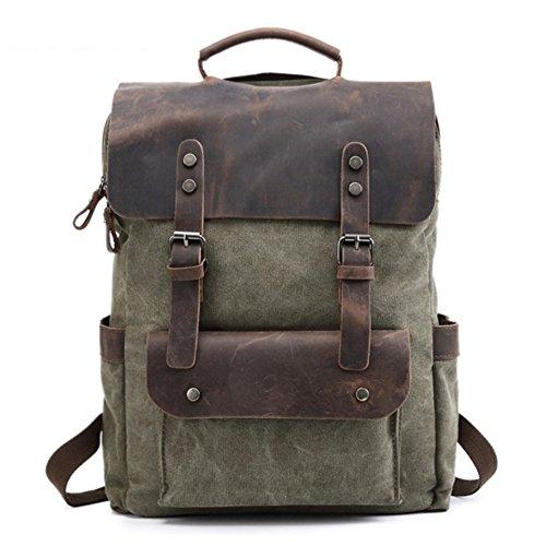 Eysee Daypack Herren Rucksack Canvas mit Leder- Vintage Rucksack Laptoprucksack für 15 Zoll Laptop Unitasche Studententasche Schultasche Reisetasche 2019 NEU