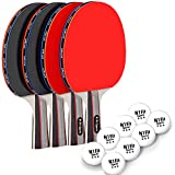 Ping Pong Paddle Set - Includes 4 Player Rackets, 8 Professional Table Tennis Balls, Portable Storage Case for...