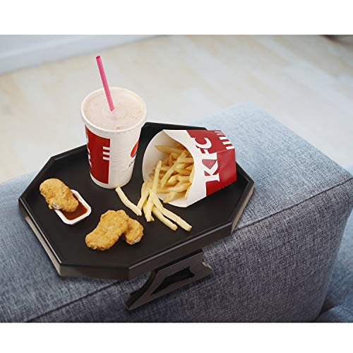 TV-Tablett, Sofa-Armlehne, Clip-On Snack Tisch Kunststoff Stuhl Armlehne Tablett Organizer Romote Caddy (schwarz)