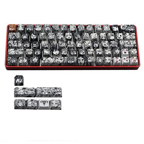 certylu Computerzubehör, PBT 71-Taste Ahegao-Keycap Dye Sublimation OEM Anime für GK61 GK64 Keyboard Keycap